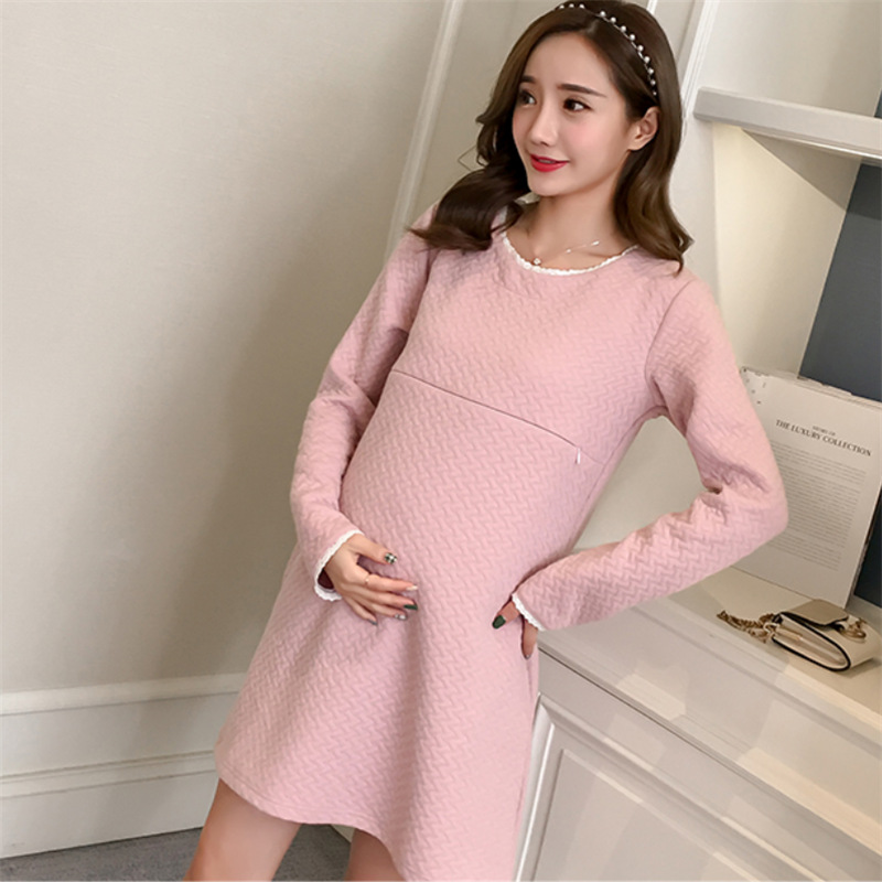 KINE PANDA Autumn Winter Pregnancy Dress Breastfeeding Maternity Dresses Blouse Korean Pregnant Women Nursing Clothes