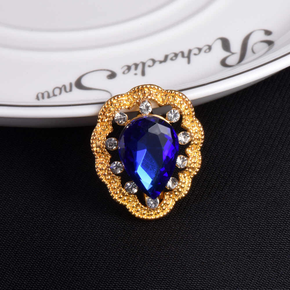 Free Shipping Women Wedding Brooches Big Blue Stone Crystal Clothing Jewelry Gold Color Classic Style Brooch Pins Rhinestone Pin