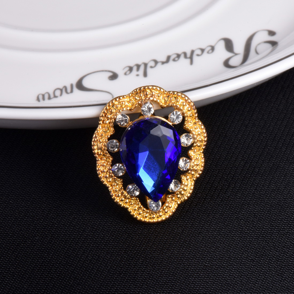 Free Shipping Women Wedding Brooches Big Blue Stone ...