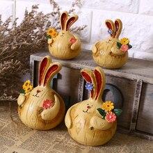 2 шт./компл. сельских Стиль смолы выбор цветов жира Кролик парные фигурки животных искусственные домашний декор рукоделие подарки