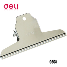 Deli 1pcs Clip 145mm Stainless Steel Wide Yamagata Iron clamp Wallet Board Metal clips 9531