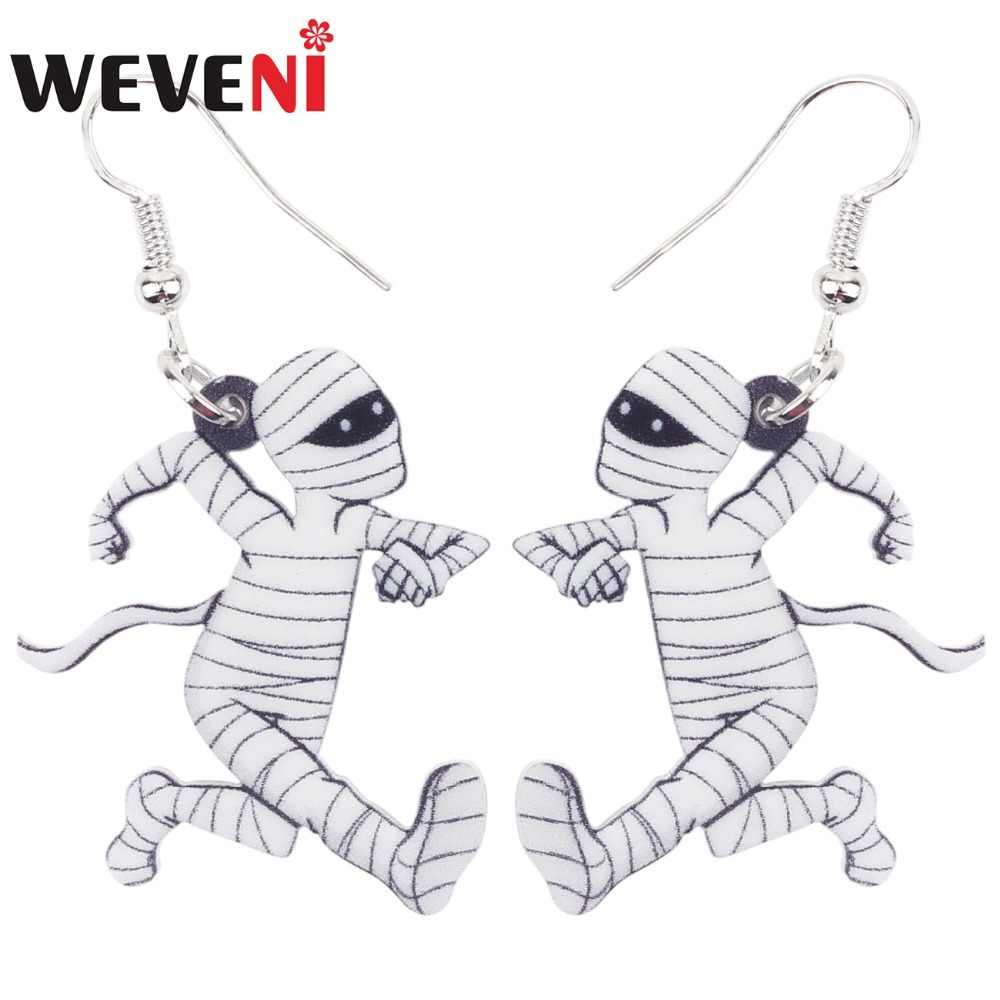 WEVENI Acrylic Halloween Running Mummy Zombie Earrings Big Long Dangle Drop Novelty Anime Jewelry For Girls Women Ladies Teens