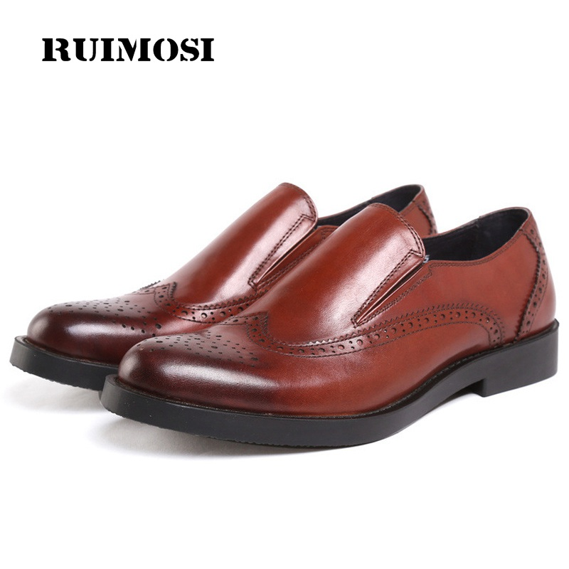 RUIMOSI British Style Wing Tip Brogue Man Formal Dress Shoes Male Genuine Leather Loafers Round Toe Platform Men's Flats YD84