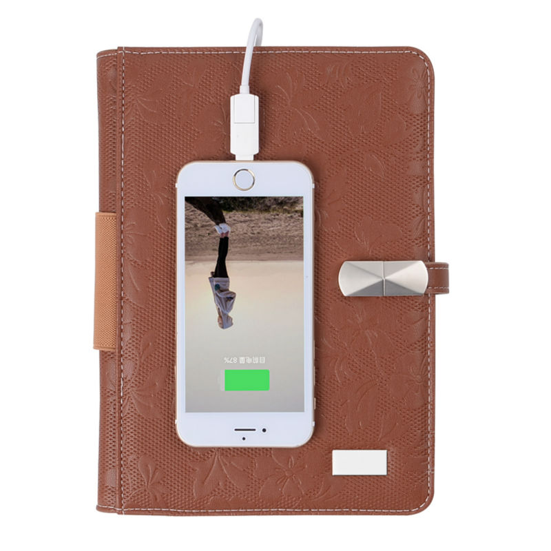 ФОТО 16GB USB Notebook with 6000 mAh Portable Source PU Leather Travelers Notebook Business Accessories Office Supplies Novel Gift Wh