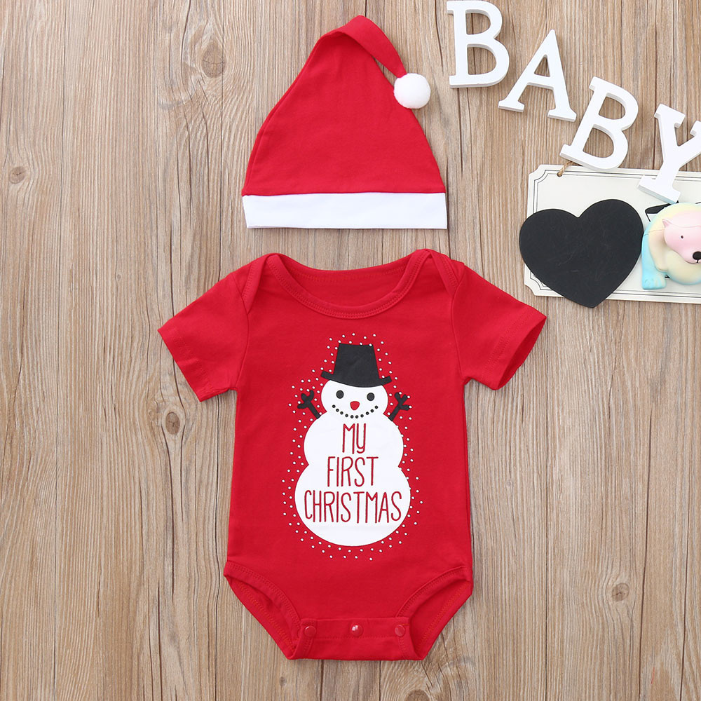 71264b8a714f O-Neck Bodysuit Baby s Sets My first Christmas 2PCS Christmas Toddler Baby  Cartoon Snowman Letter