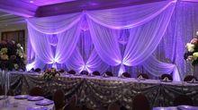 Deluxe чистого серебра блесток свадьба фон с красивым белым гирлянды занавес Свадебные украшения