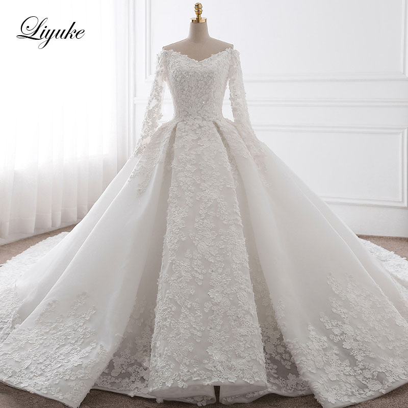 bfaddbeb116c8 Liyuke Embroidery Strapless A Line Wedding Dress Floral Print Lace ...