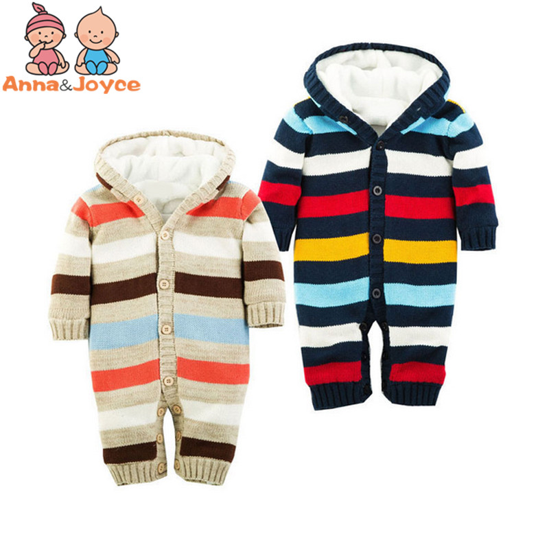 1Pc Retail!!Stripe Thickening Autumn and Winter Warm Soft Romper Kids Cotton Fashion Climb Clothes Suit 0 24Months
