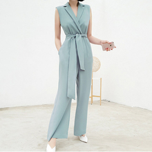 Banulin Runway Summer Women Long Wide Leg Rompers Lady O Neck Office Work Wear Elegant Full Length Sleeveless Jumpsuit