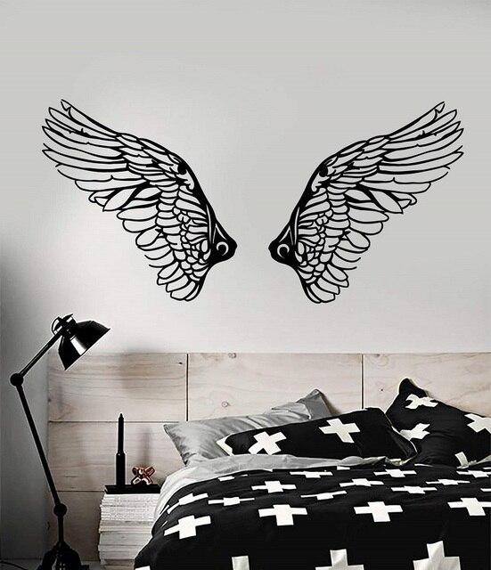 비닐 데칼 기독교 천사 날개 종교 기독교 종교 거실 침실 홈 장식 벽 스티커 2cb8