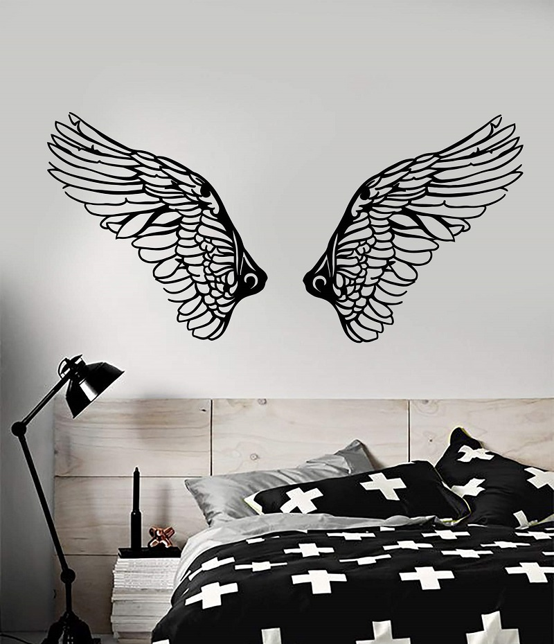 Vinyl Decal Christian  Angel Wings Religion Christianity Religious Living room bedroom home decor Wall Sticker 2CB8-in Wall Stickers from Home & Garden
