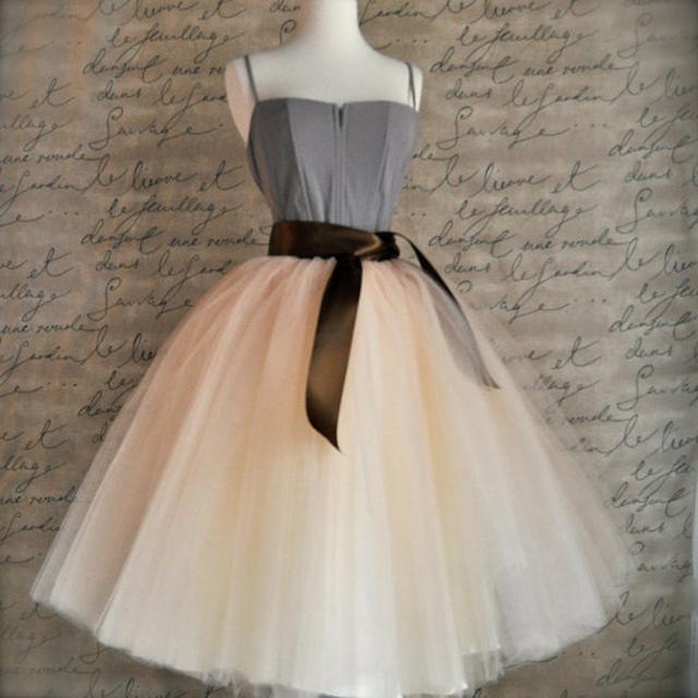 Melhor Qualidade 7 Camadas Midi Saia de Tule Tutu Saias Das Mulheres Saia Cinto Elástico 2017 Outono da American Apparel faldas saia jupe10