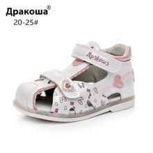 Apakowa/сандалии с закрытым носком для маленьких девочек; летние детские сандалии с бабочками; пляжные нарядные модельные туфли с супинатором; цвет белый, розовый