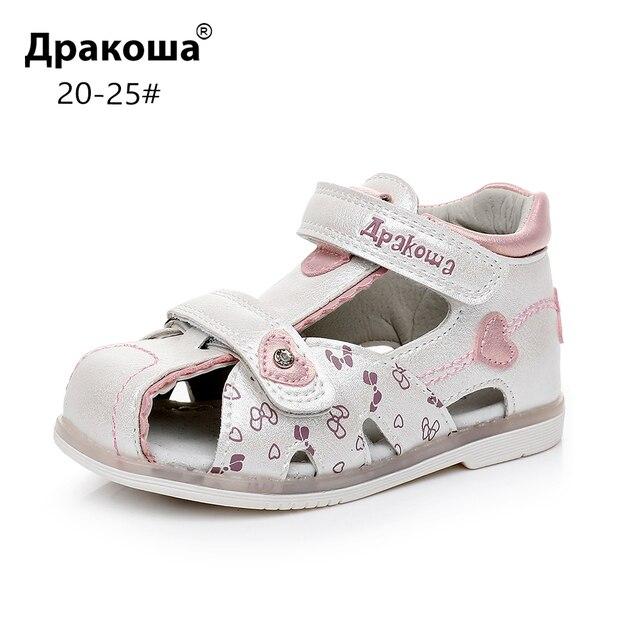 Apakowa פעוט תינוק בנות סגור הבוהן סנדלי קיץ ילדים פרפר סנדלי חוף המפלגה שמלת נעליים עם קשת תמיכה לבן ורוד