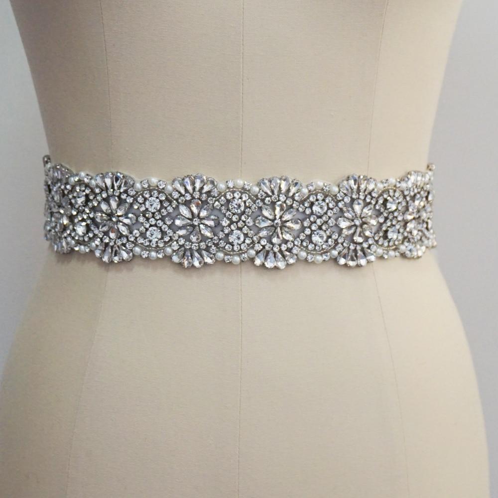Luxury Crystal And Rhinestone Wedding Belt Beading Bridal Sash For Wedding Gown Handmade Wedding Accessories