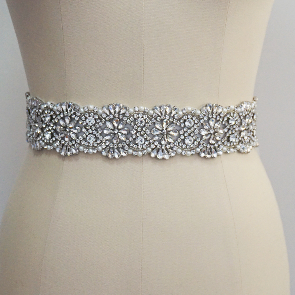 Luxury Crystal And Rhinestone Wedding Belt Beading Bridal Sash For Wedding Gown Handmade Wedding Accessories