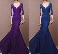 Sexy 2017 Mother Of The Bride Dresses Mermaid Cap Sleeves Purple/Royal Blue Lace Special Occasion Dresses Mother Dresses