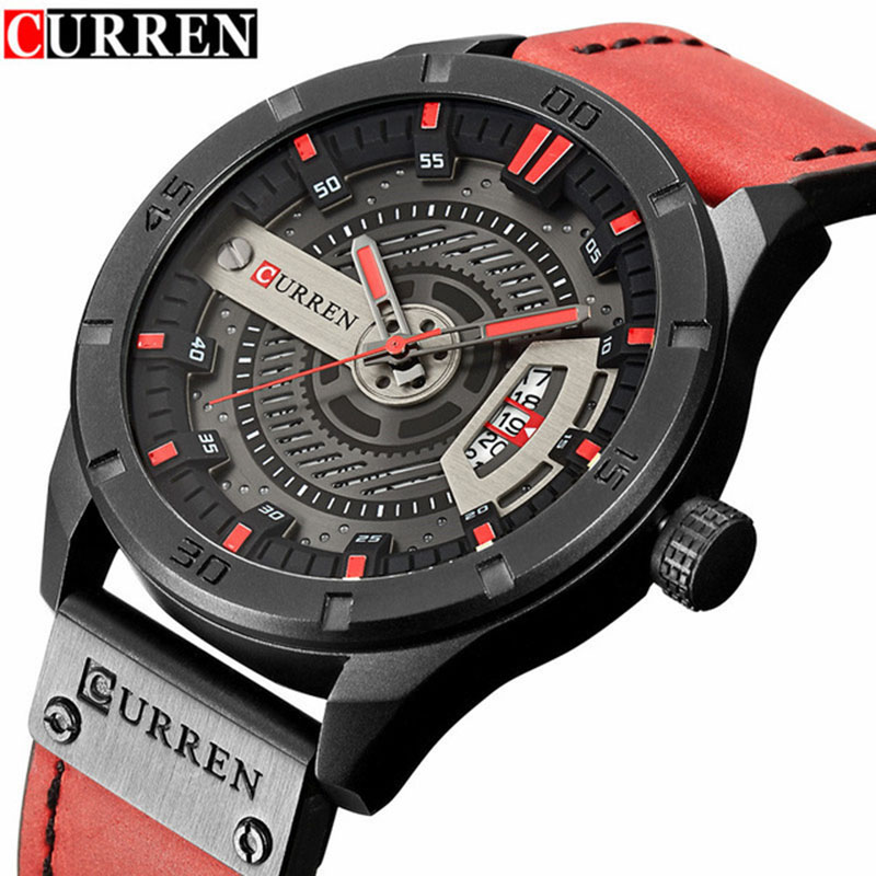 Mens Watches Curren Brand Luxury Leather Strap Waterproof Sport Quartz Watch 2017 Fashion Men Date Wristwatch Male Clock Relogio цена
