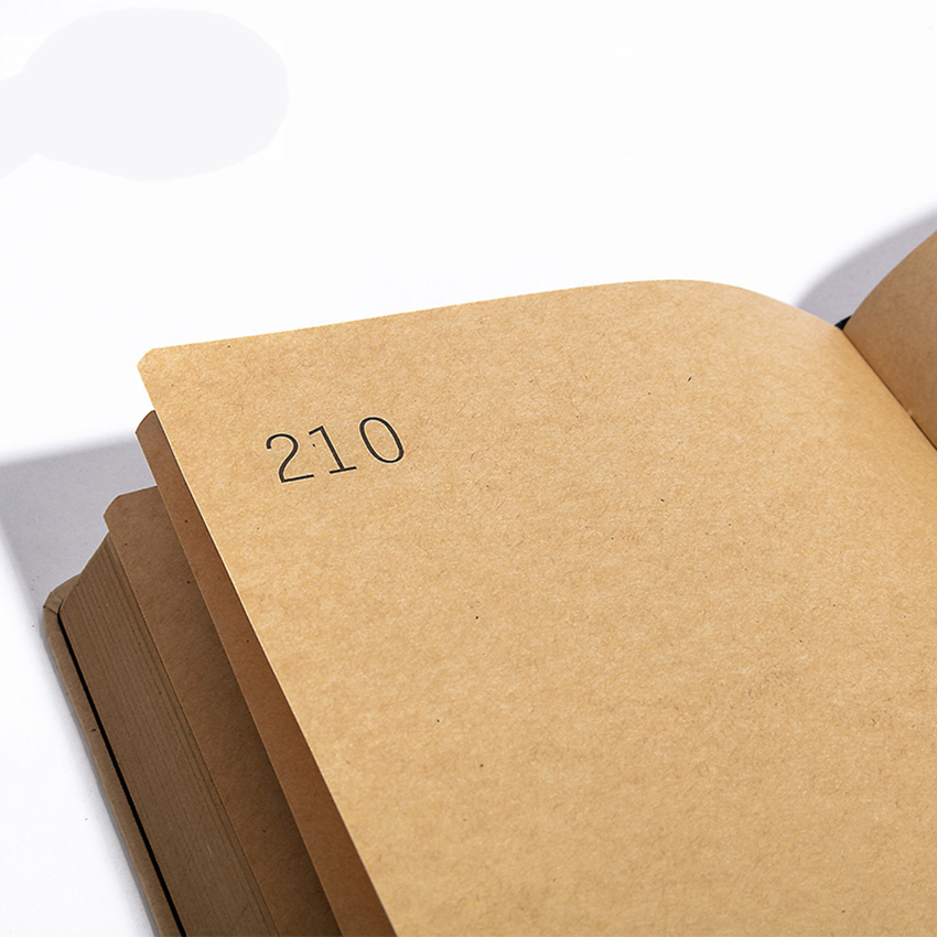 A5 Kraft Blank Notebook Notebook Journals with Lock, 384 Pages, Size: 145x215mm, with Page Number & Date, Lay Flat Binding