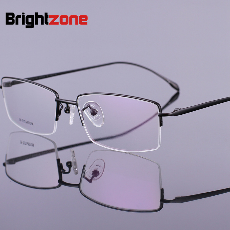 Slim Temple Leg 100% Pure Titanium Myopia Half Rim Exceed Light Spectacle Eye Concise Personality Prescription Rx Glasses Frame