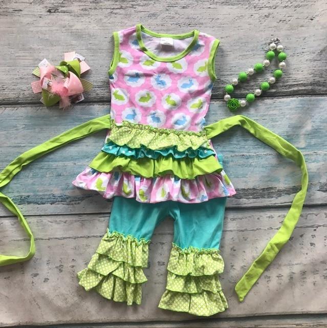 Пасха дизайн девочки дети бутик одежды оборками хлопок кролик печати пояс с соответствующими аксессуарами оголовье и ожерелье