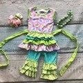 Conejito de pascua diseño niñas bebés niños boutique de ropa de algodón de las colmenas de impresión cinturón con accesorios diadema a juego y collar