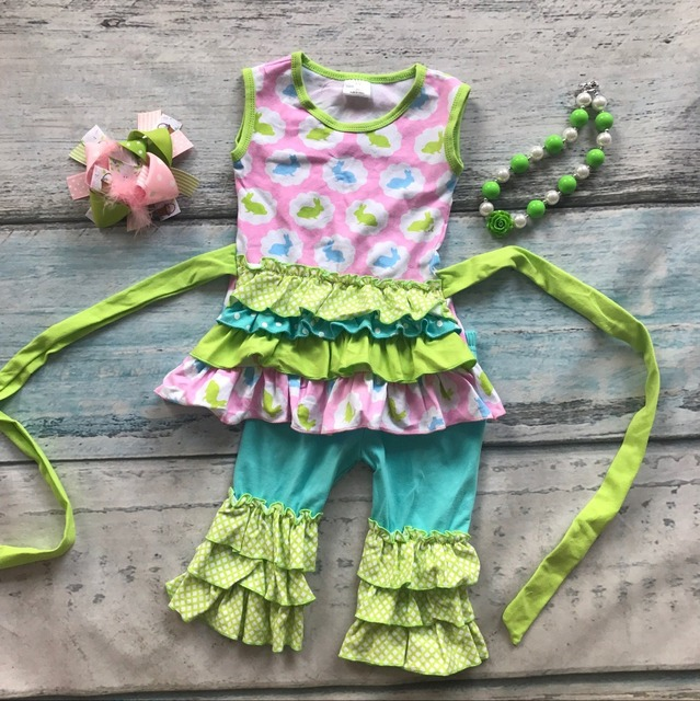 Easter design baby girls kids boutique clothes ruffles cotton bunny print belt with matching accessories headband and necklace