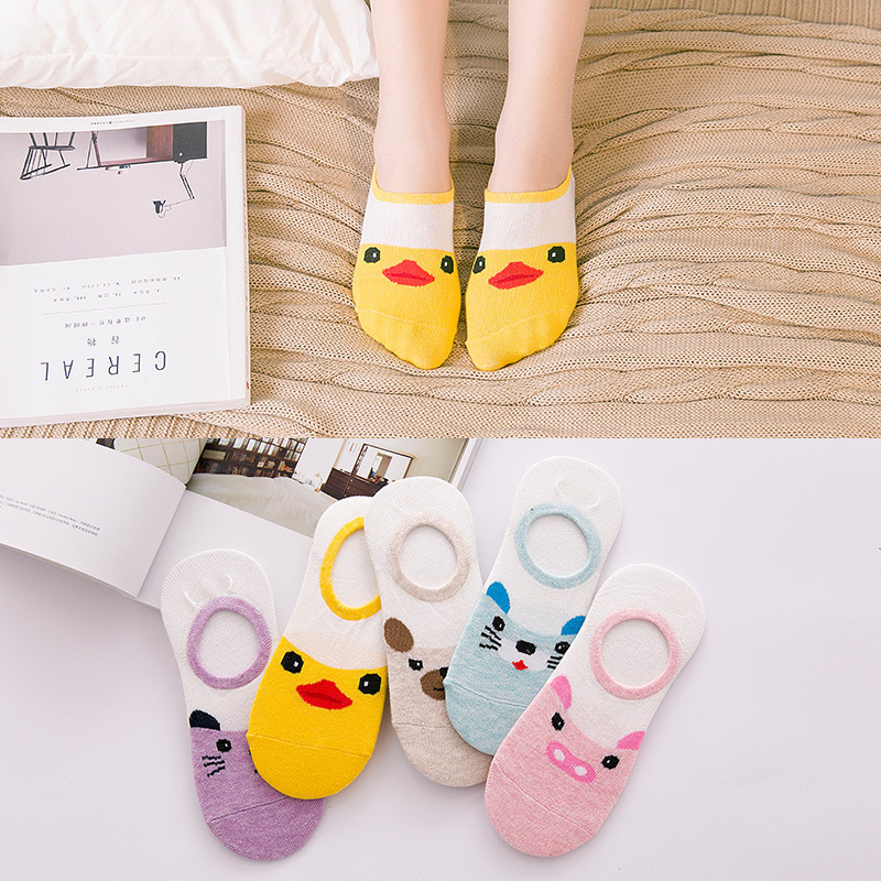 Summer Cartoon Boat Socks Cotton Small Yellow Duck Woman Sock Invisible Girl Boy Slipper Casual Hosiery 1pair=2pcs Ws108