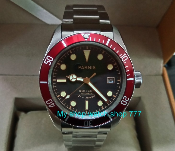 купить 41mm Parnis Sapphire Crystal Japanese 21 jewels Automatic Self-Wind Movement Mechanical watches 5Bar Luminous Men's watches 17p по цене 10770.8 рублей