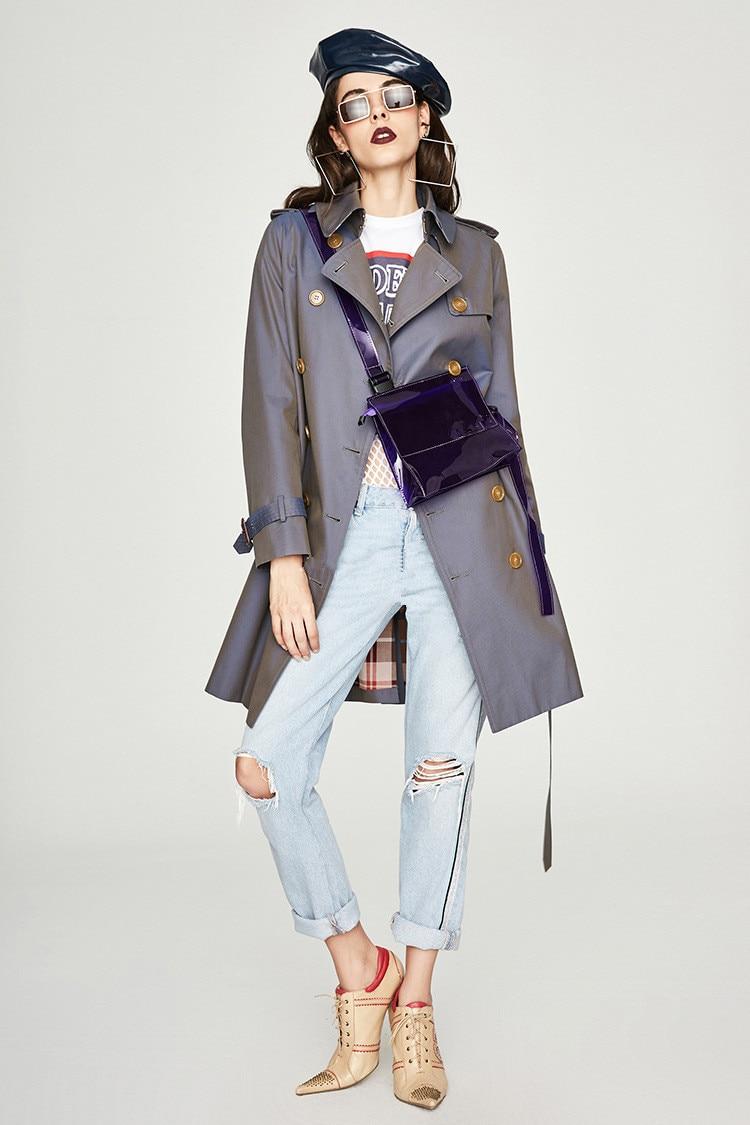 England style women   trench   coat 2019 Fall/Winter double-breasted windbreaker coat Chic women's elegant overcoat A637