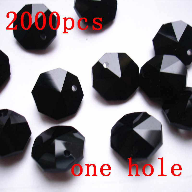 Fast Black 14mm Crystal Glass Octagon Beads 1 Hole Accessories For Chandeliers Cristais Para Re Loose Prism Pendants In Chandelier From