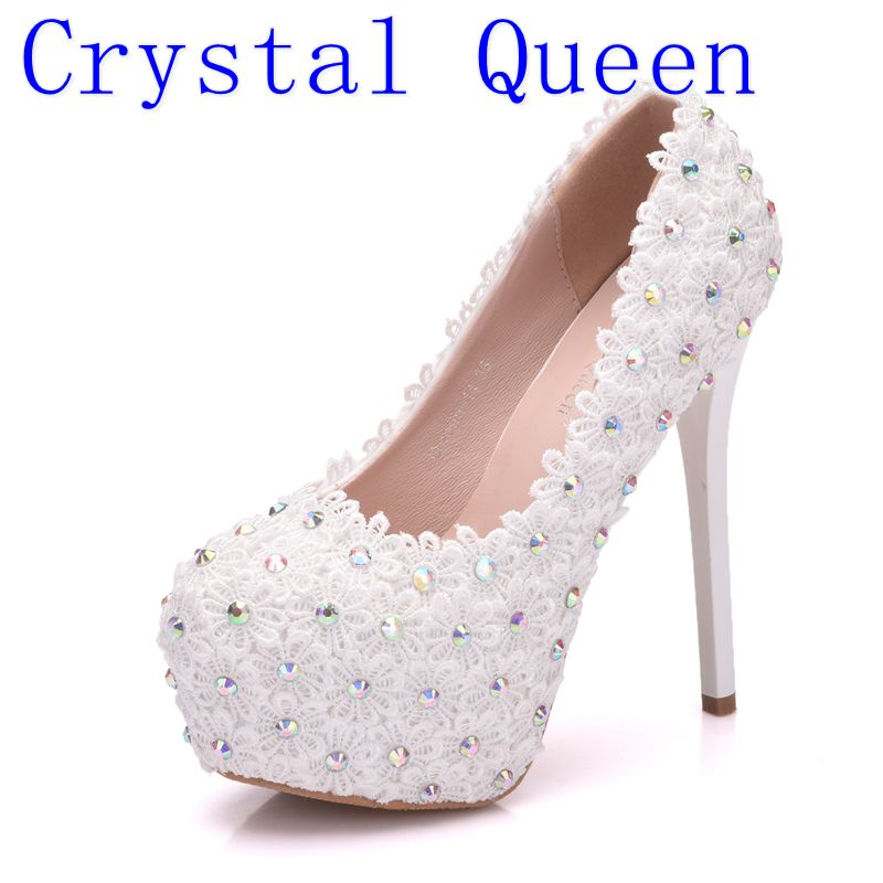 aliexpress.com - Crystal Queen Bridal AB Crystal Bead Bridal Wedding Party Dress  Pumps Shoes Women White Lace Flowers Thin High Heel Pumps Shoes - imall.com 1252d84acc7a