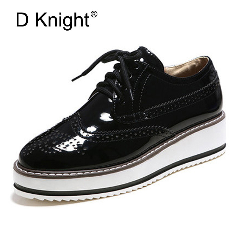 Brogue Platform Oxford Shoes For Women Plus Size 34-43  Vintage British Style Flats Lace Up Female Oxfords Ladies Casual Shoes women brogue shoes lace up oxfords for women black white platform shoes woman beading thick bottom pu leather flats plus size 43
