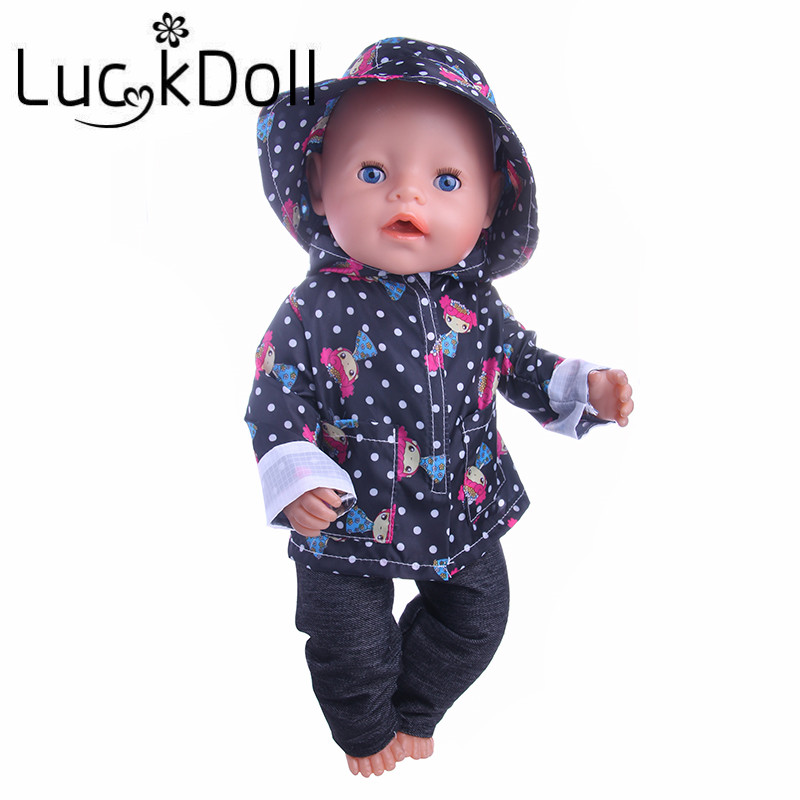 Image 5 - Cute Pattern Casual Raincoat 3Pcs=Hat+Coat+Pants Fit 18 Inch American&43 CM Baby Doll Clothes Accessories,Girl's Toys,Generation-in Dolls Accessories from Toys & Hobbies