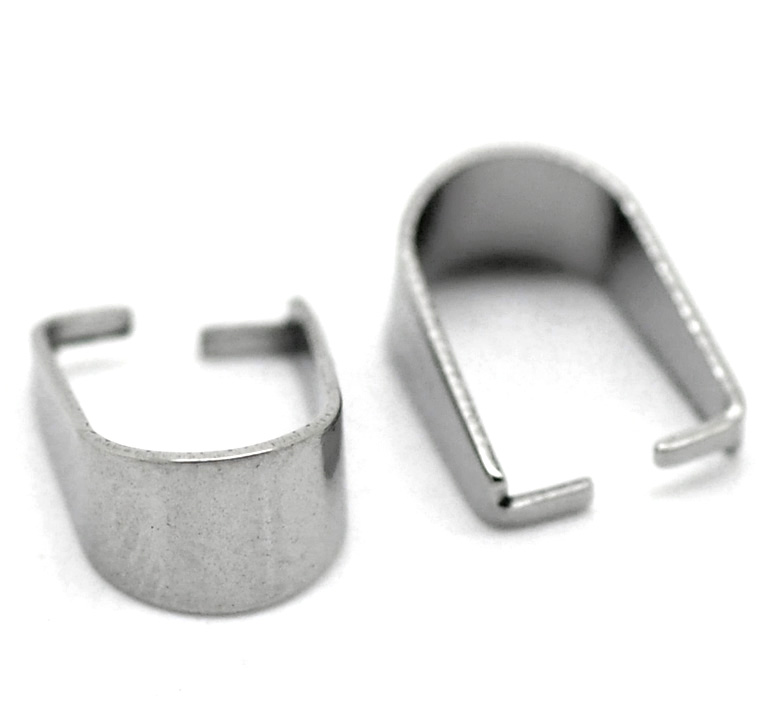 DoreenBeads 304 Stainless Steel Pendant Pinch Bails Clasps Horseshoe Silver Color DIY Jewelry 10mm( 3/8
