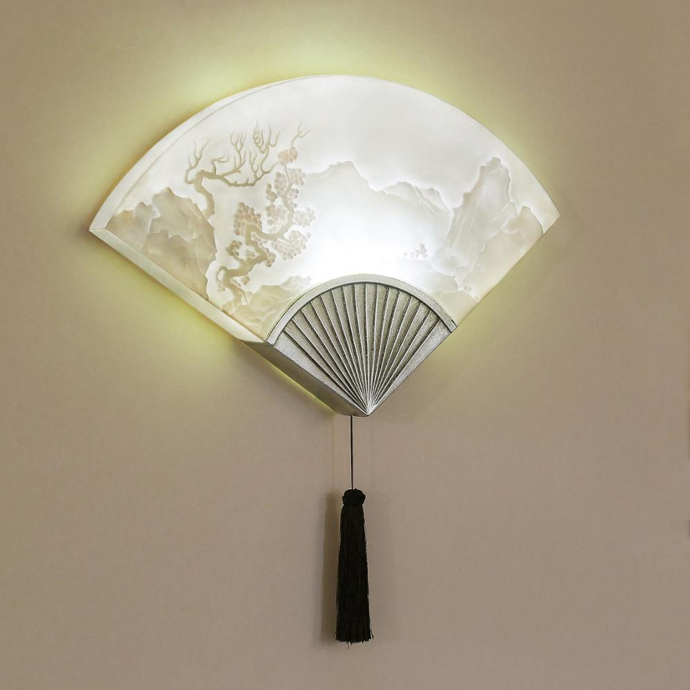 Chinese Style Fan LED Wall Light Dining Room Balcony