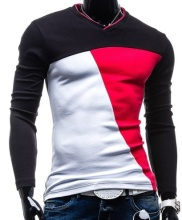 ZOGAA Spring Autumn Korean Men T Shirt Vintage Style Patchwork Black&Red&white  O-neck Long Clothing Plus Size M-5XL