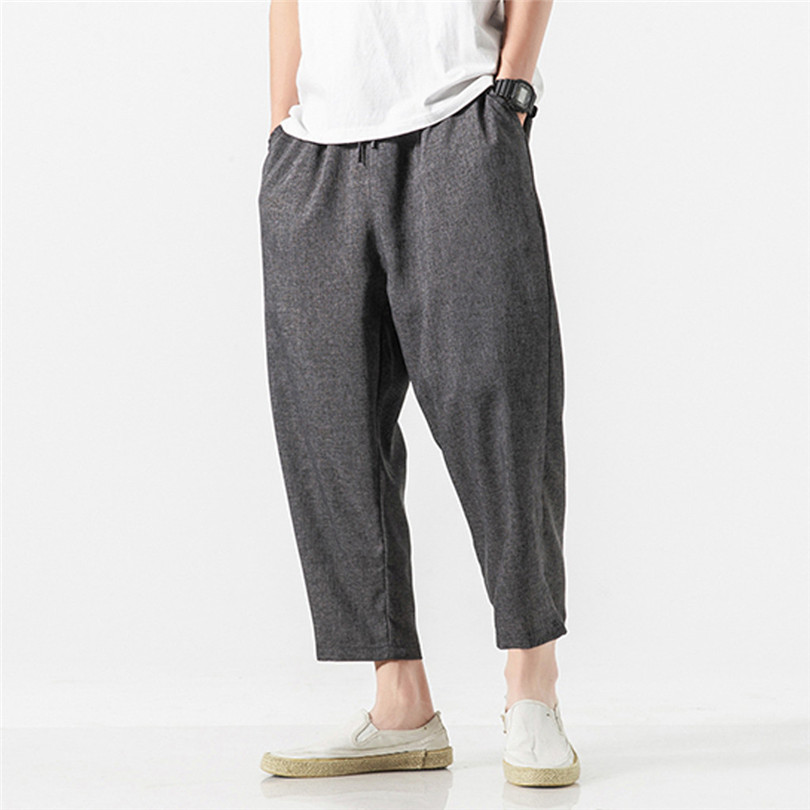 2019 New Summer Men Casual Vintage Loose Cotton Linen Casual Pants Plus Size Straight Solid Patchwork Ankle-Length Pant #E03
