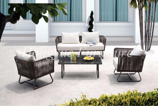 Marco de aluminio al aire libre muebles de ratán sofá de mimbre conjunto conjuntos