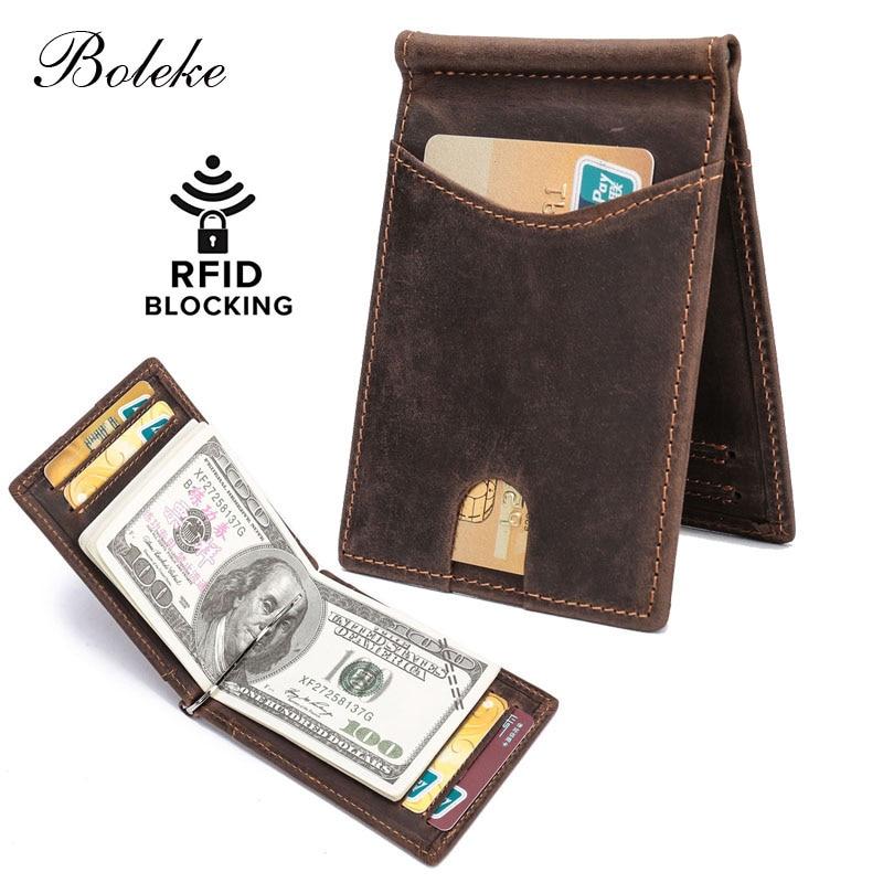 Pocket Wallet Minimalist Front Money-Clip Blocking RFID Real-Leather Men For Man R9007