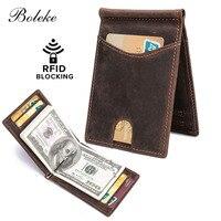 Men RFID Blocking Slim Wallet Thin Minimalist Front Pocket Wallet Men Real Leather Credit Card Money Clip for Man R9007