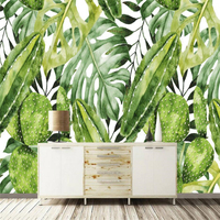 Beibehang European Vintage Hand Painted Rainforest Banana Leaf Cactus Background Custom Large Mural Wallpaper Papel De