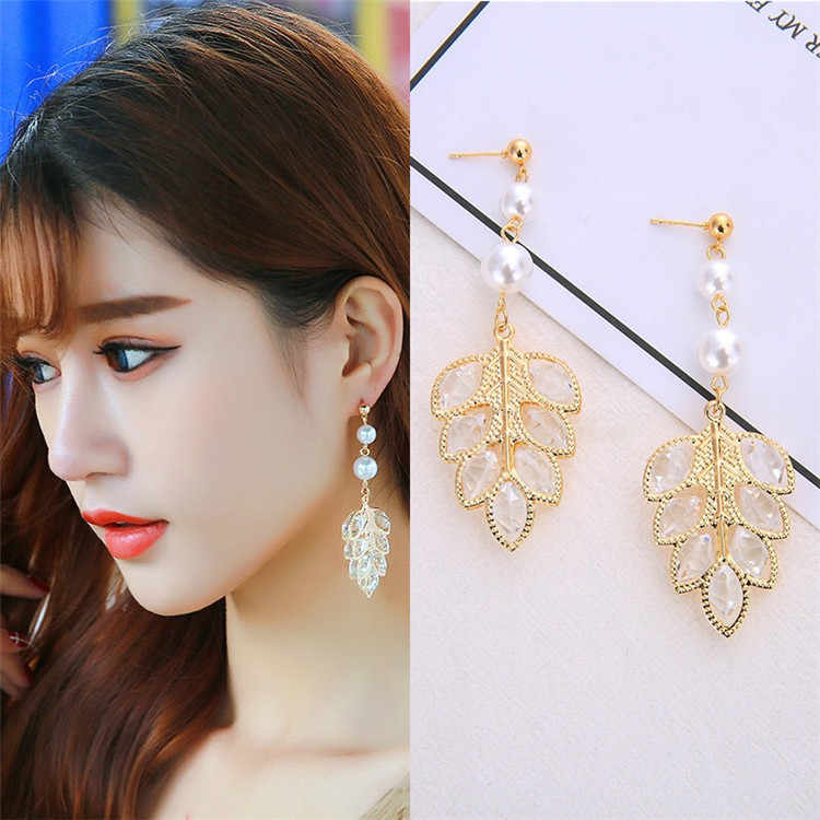 2018 Shiny Crystal Leaf Long Drop Dangle Earrings New Design Fashion Statement Pearl Jewelry For Women Gift Brincos
