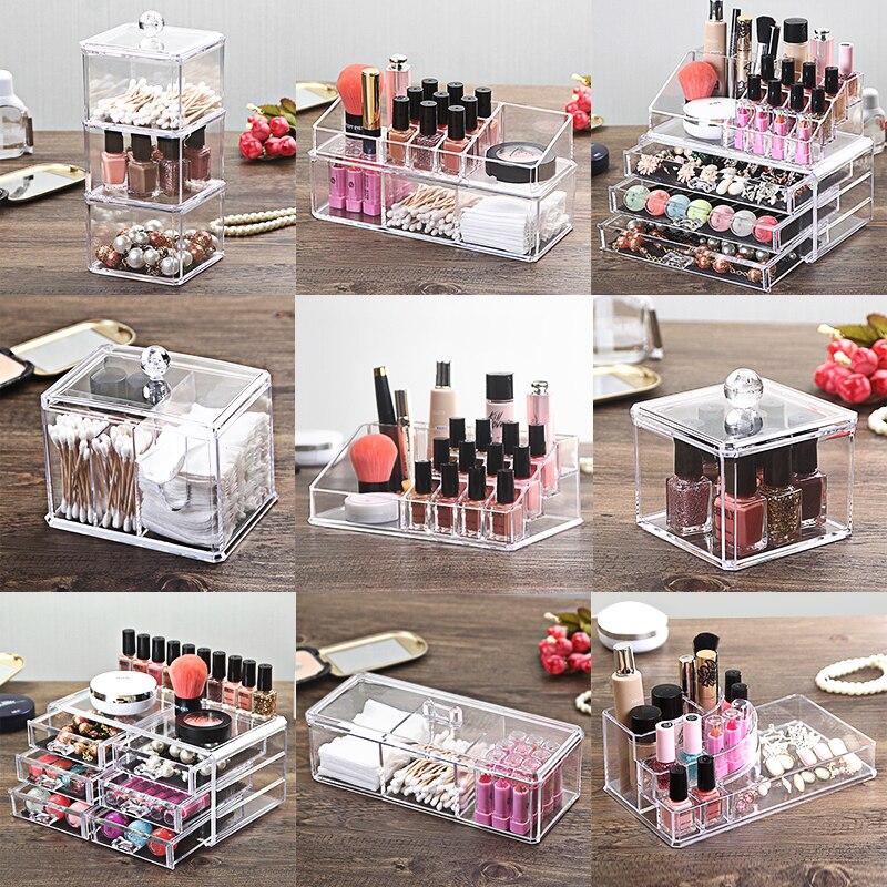 Délicat Effacer Mode Maquillage Organisateur Boîte De Rangement Bijoux Container Organisateur Pour Cosmétique Boîte De Rangement Case 17x9.2x6.6 cm