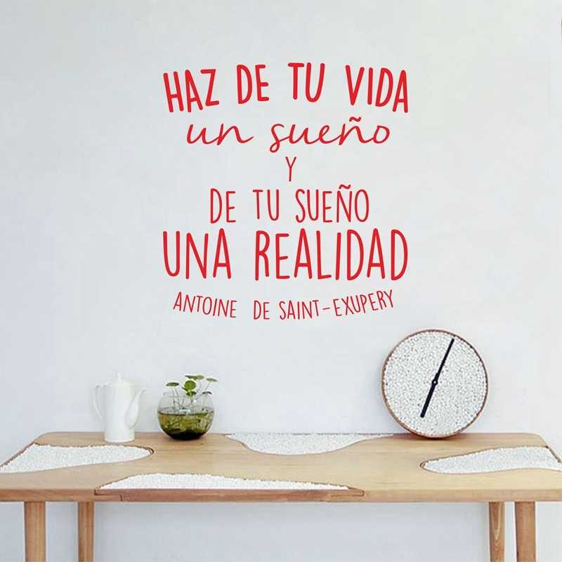 Spanish Inspirational Positive Quotes Vinyl Wall Sticker Life Dreams Art Decals For Spanish Home Decoration Wallpaper