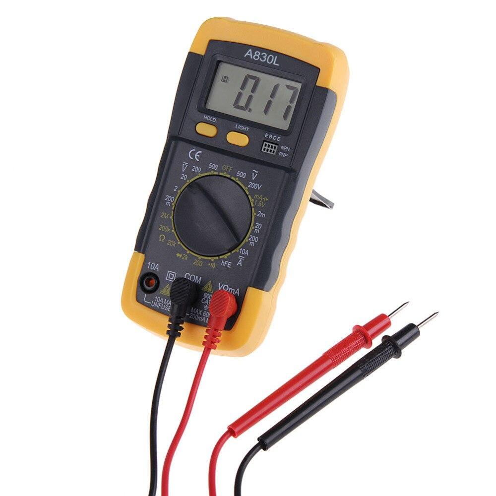 A830L LCD multímetro Digital eléctrico del amperímetro del voltímetro del metro del probador de mano AC DC Digital Multimetro amperímetro Multitester
