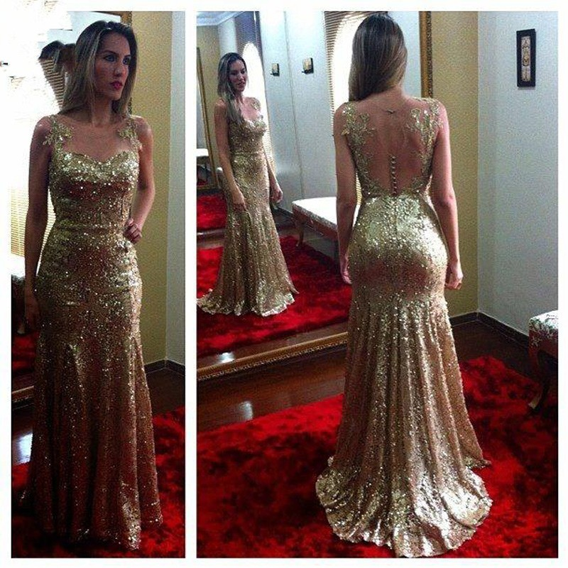 0412dcb95 2016 elegante oro lentejuela baratos vestidos largos por la noche vestidos  de gala pura volver Illusion cuello en Vestidos de noche de Bodas y eventos  en ...