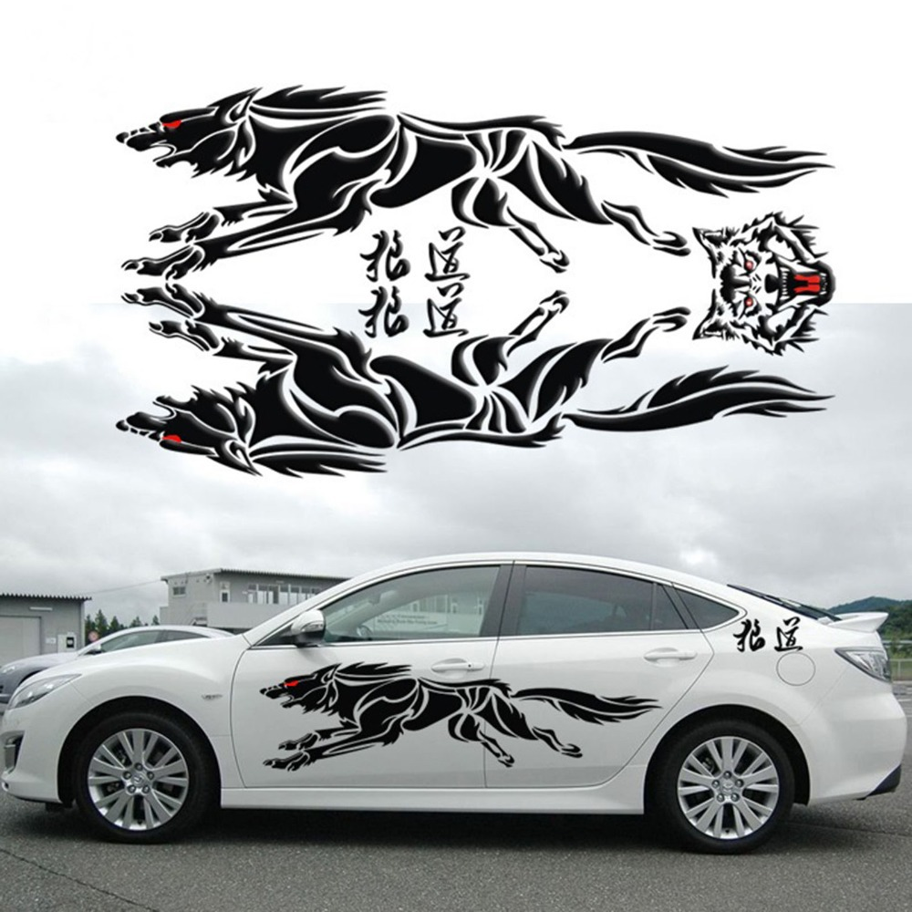 Car sticker design in india - How To Design Car Sticker Car Side Sticker Design 2015 New 3d Metal Running Wolf
