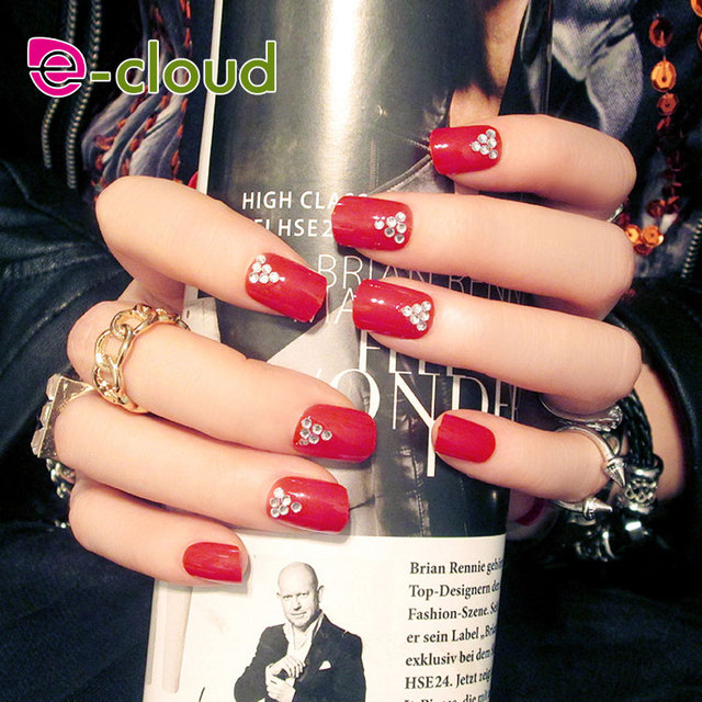 24 Pcsbox Red Fake Nails With 3d Rhinestone Pearl Ectsign Press