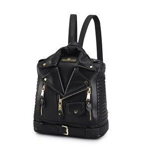 Image 2 - 有名なブランドの女性のバックパック革ブラックバックパックスクールバッグ十代の少女旅行バックパック女性のスーツの肩バッグ